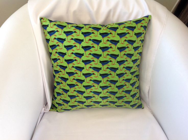New Zealand fabric cushion cover, Native Pukeko pillow cover by NewZealandNaturally on Etsy