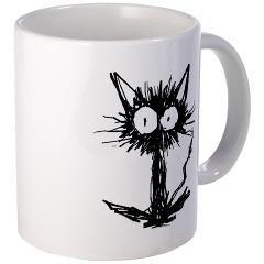 Mag! Strange black kitten. =) (CafePress) Black Cat, Hedgehog, Kitten, Monochrome, Hand drawing, Big eyes, Skinny