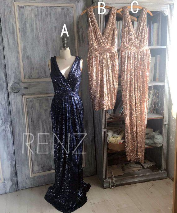 2015 Mix and Match Bridesmaid dress, Light Gold Black Sheath Luxury Sequin Evening dress, Metallic Sparkle Wedding dress (T150B/D/C) (long, probably Navy, maybe gold or black?)