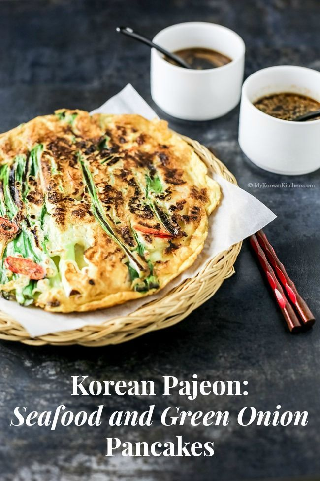 Korean Seafood and Green Onion Pancakes (Haemul Pajeon) | http://MyKoreanKitchen.com