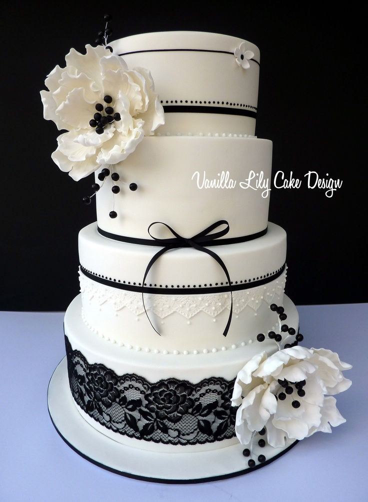 Black and white cake cakedesigns wei e hochzeitstorten for Weisse kuchen bilder