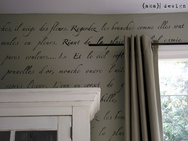 "Royal Design Studio's ""Springtime in Paris"" stencilFrench Poems, Bedroom Walls, Paris Stencils, Aka Design, Paris Decor Bedrooms, Stencils Wall, Wall Stencils, Bedrooms Wall, French Scripts"