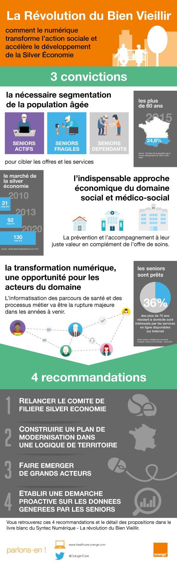 [Infographie] la révolution du bien vieillir  Le vieillissement de la population est une réalité en France comme partout dans le monde. Pour autant, le marché de la Silver Economie peine à se développer encore aujourd'hui.