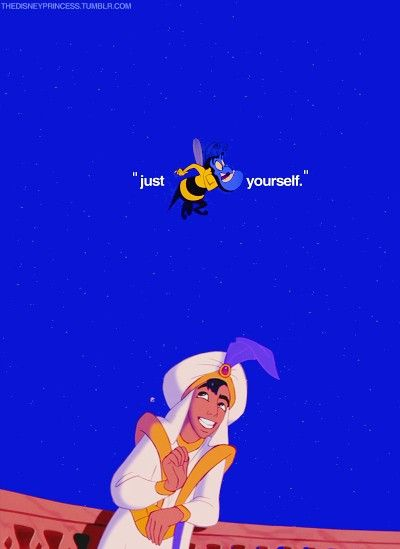 In this scene the Genie is helping Aladdin impress Jasmine. Aladdin presented himself as Prince Ali after he made the wish to become one. He asked Genie for advice and the Genie told him to be himself. This shows how to impress Jasmine, Aladdin should have been his true character even though his heart was in a good place.