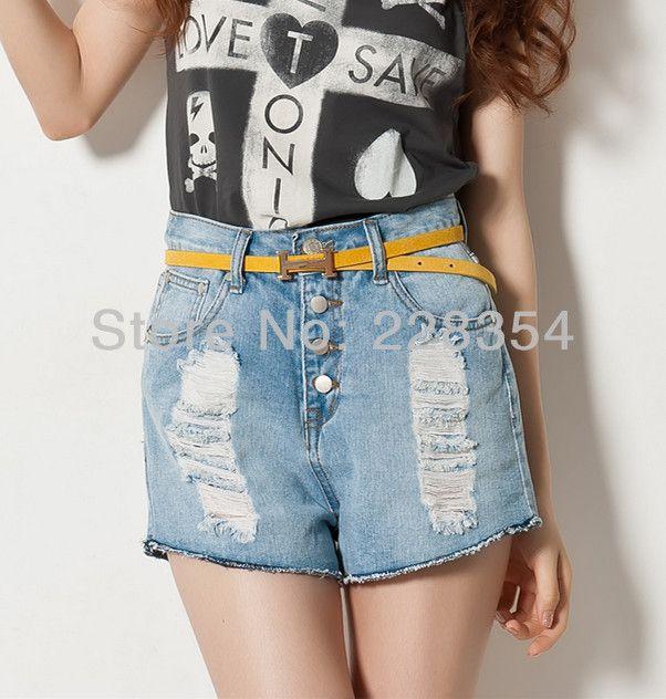 Отверстия кисточкой стиральная кнопка сверхкороткие высокая талия джинсовые шорты женские джинсы 2 цветов опт и розница