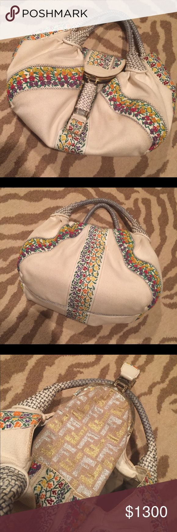"""LIMITED EDITION AUTHENTIC FENDI SPY BAG LIMITED EDITION AUTHENTIC FENDI SPY BAG IN EXCELLENT CONDITION. SUPER RARE! EMBROIDERED FLOWERS WITH BEADING. COMES WITH FENDI DUST BAG. Measurements: Handle Drop 6"""", Height 8"""", Width 19"""", Depth 7"""" Fendi Bags"""