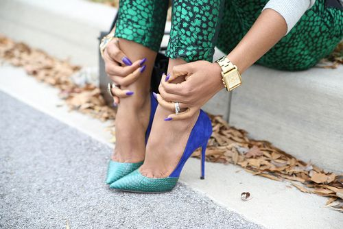 Turquoise snakeskin with cobalt suede. Design your own at upperstreet.com
