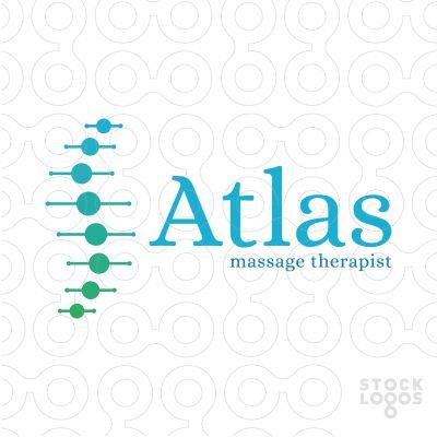 Atlas Massage Therapist .Logo for medical chiropractic massage, spine column