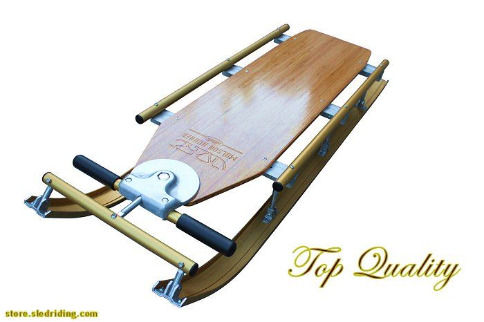 Molson Flyer Sled via store.sledriding.com   Quality air craft aluminum and bamboo wood.  The best of the best anywhere!!   #Sleds #Sledding #ExperienceWinter