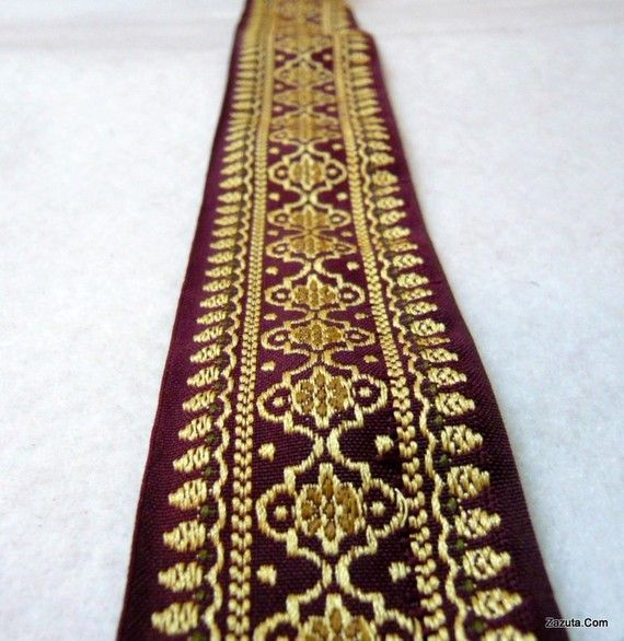 Hey, I found this really awesome Etsy listing at https://www.etsy.com/listing/72844291/maroon-and-gold-embroidered-fabric-trim