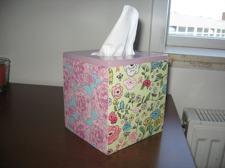 tissue box 4 side different decoupage