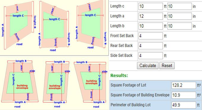 Construction Calculator For Estimation Of Lot And Building Envelope Square Footage Construction Estimating Software Construction Calculators Construction Cost