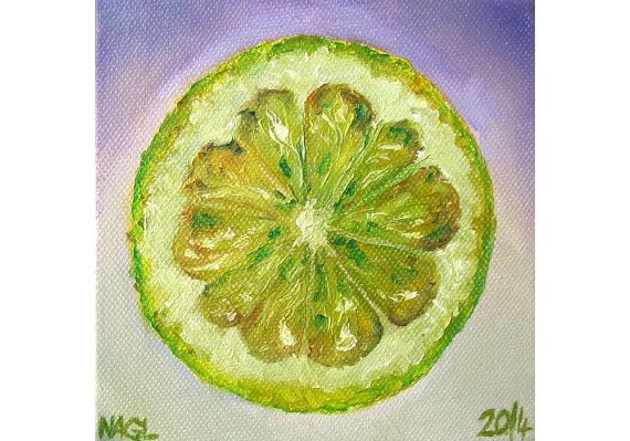 Lemon Lime (April 2014) original still life oil painting study on box canvas on Etsy, £60.00