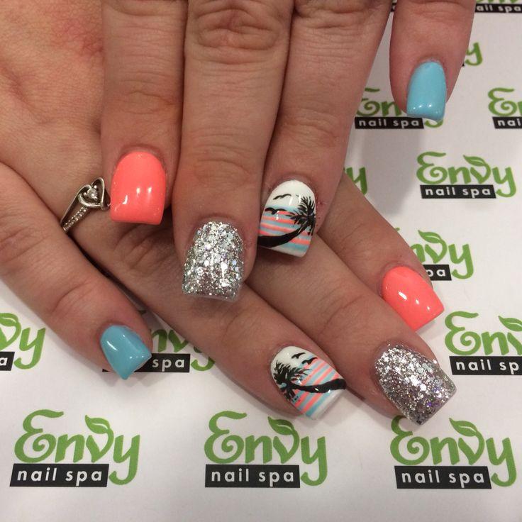 Palm Tree, Sunset, Seagull Nails - Envy Nail Spa - Best 25+ Palm Tree Nails Ideas On Pinterest Palm Tree Nail Art