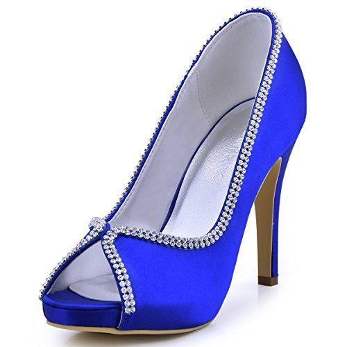 ElegantPark EP11083 Women Peep Toe Rhinestones Platform H...
