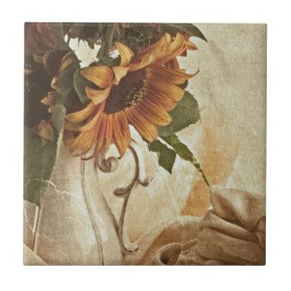 Rusty Orange Sunflowers Small Square Tile