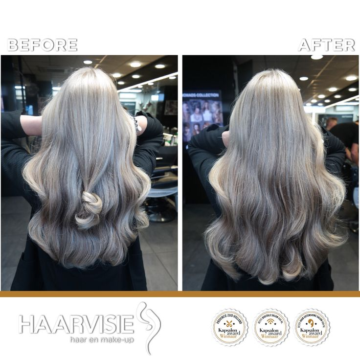 Silver blond hair. Highlights and a cool toner with olaplex.