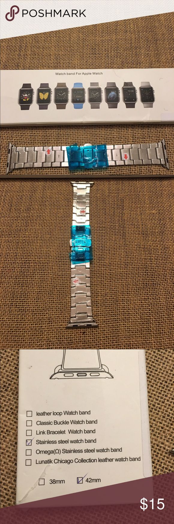 Apple Watch Band Apple Watch band! Stainless steel band. 44mm and has 1 extra link.  Can used for men or woman Watch. Have never been used, still in original plastic. Fits series 1 or 2. Happy poshing  Leakind Accessories Watches