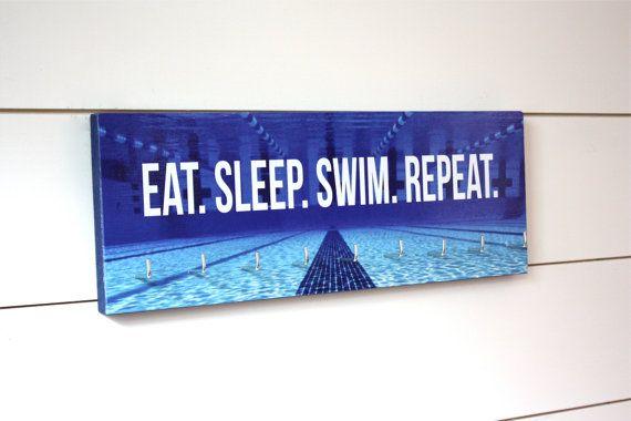 Swimming Medal Holder  Eat. Sleep. Swim. Repeat.  by YorkSignShop