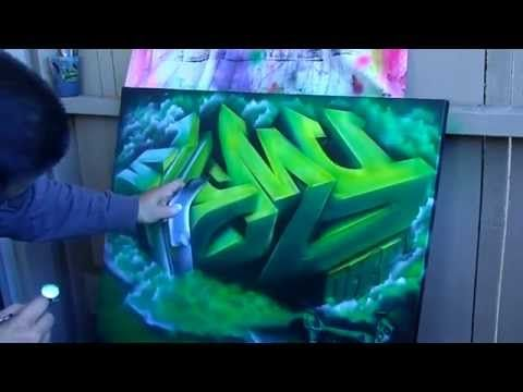 3D Graffiti painting on canvas (speed painting) iwata Eclipse HP-CS - YouTube