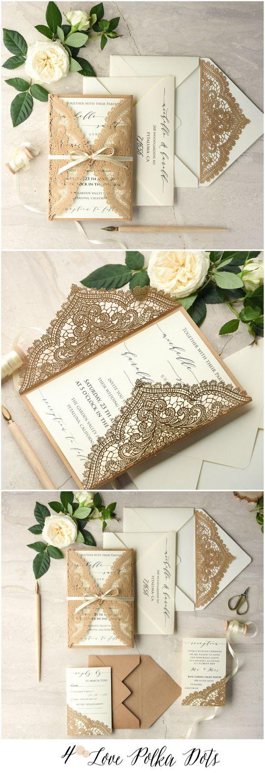 Laser cut lace romantic calligraphy wedding invitations with ribbon #weddinginvitations #lace #lasercut #calligraphy #romantic #vintage #elegant