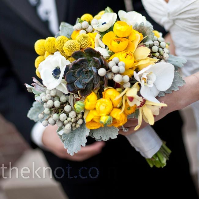 LOVE!  craspedia, yellow ranunculus, white anemones, white phal orchids, yellow cymbids, silver brunia, dusty miller, and SUCCULENTS. never would have paired these guys, but i am oh so in love with the result!