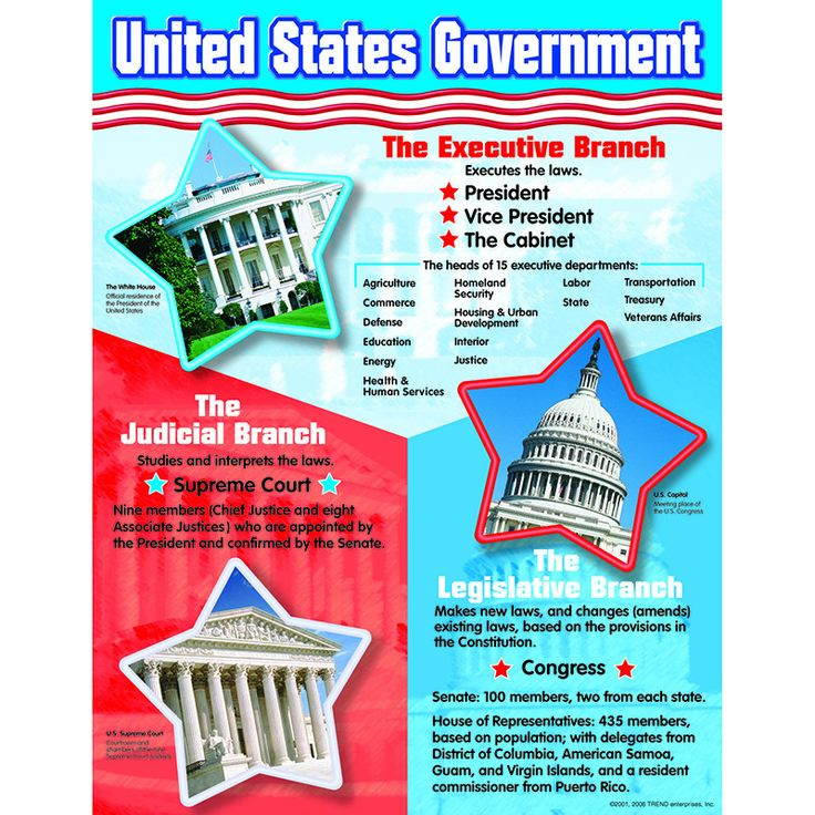 Defines positions, departments, and duties of the three branches of government. Includes photos of related buildings in Washington, D.C. Back of chart features reproducible activities, subject informa