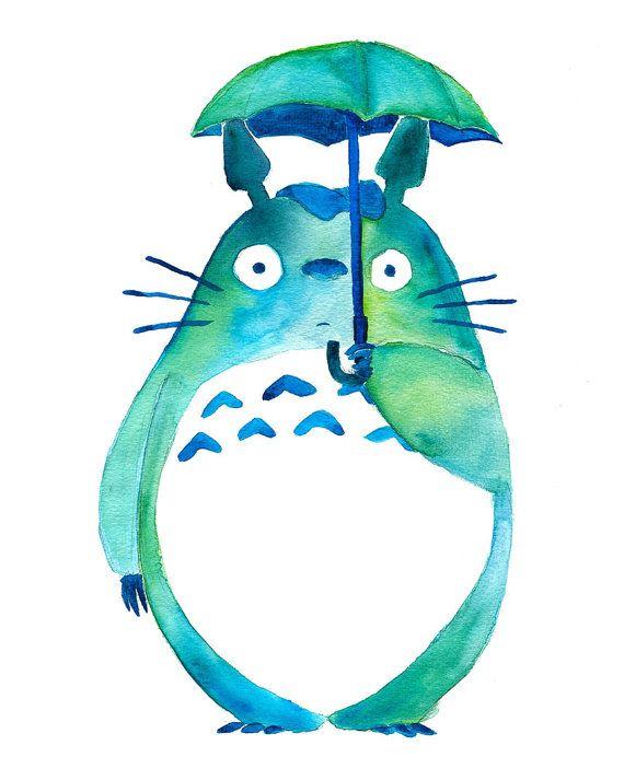 Totoro in the Rain Art Print  Studio Ghibli  par BumbleBirdStudio