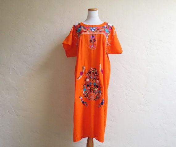 Vintage Bright Orange Embroidered Mexican Festival by LolaAndBlack