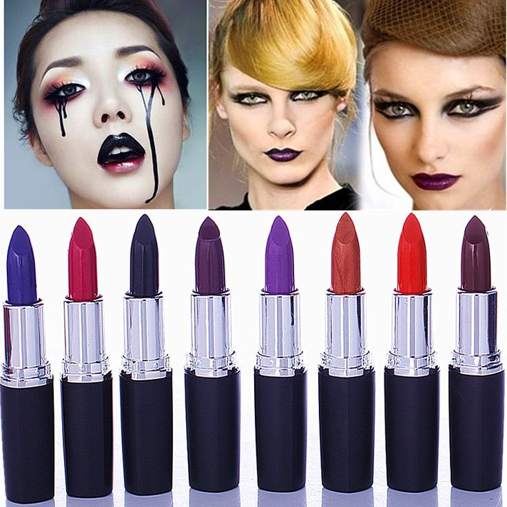 2016 Matte Makeup Vampire Dark Red Lipstick Cosmetic Punk Purple Waterproof Matte Lips Stick Makeup lips Tools
