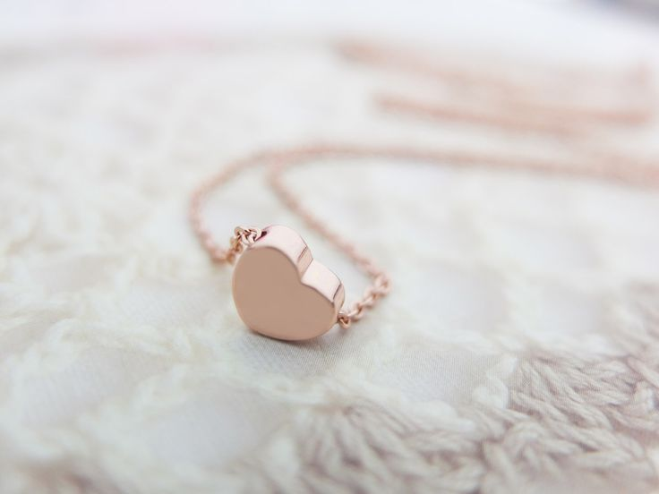 Rose Gold Heart Necklace Rose gold necklace Tiny charm necklace Christmas gift Bridesmaids Gift mom Birthday Gift best friend Birthday by SeablueBoutique on Etsy https://www.etsy.com/listing/164627873/rose-gold-heart-necklace-rose-gold