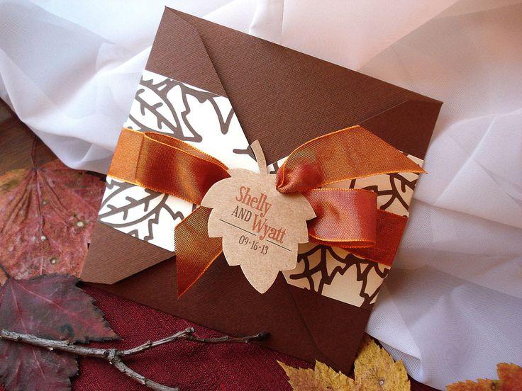 Fall Leaf Pocket Wedding Invitations | Lovely Autumn Leaf Square Pocket  Fold Wedding Invitation   Sample