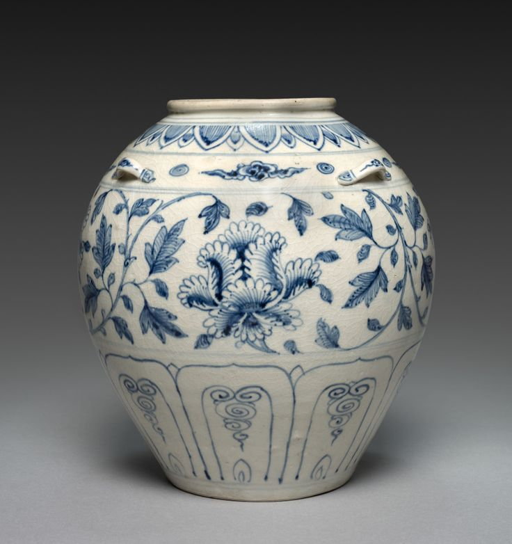 Storage Jar: Blue-and-White Ware, Vietnam (Annam), 14th century porcelain with underglaze blue, Overall: h. 25.50 cm Cleveland Museum of Art