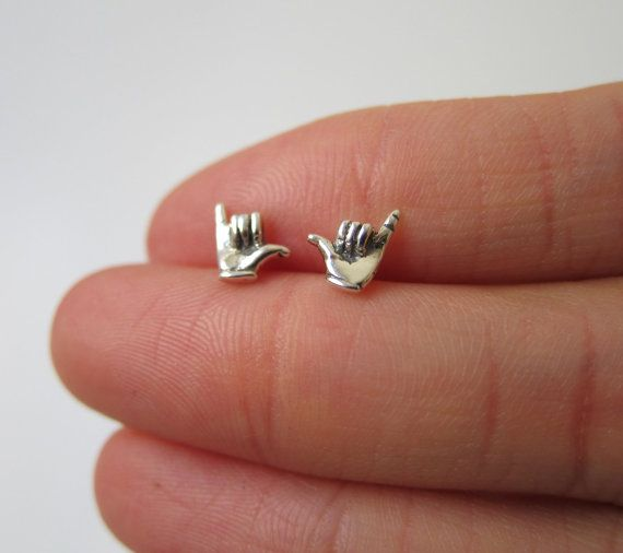 Tiny Sterling Silver Shaka Sign Stud Earrings by GreatJewelry4All, $14.00
