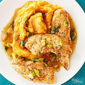 Maple-glazed chicken and sweet potatoes