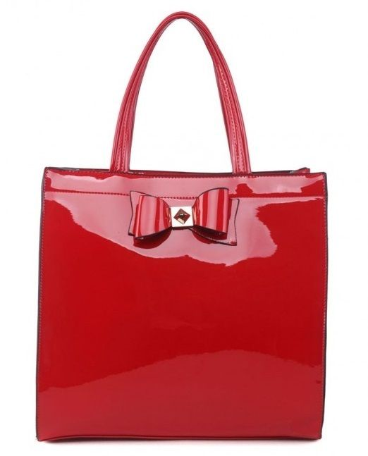 Red Patent Shopper Bag with Bow - Extra Large Size - The Handbag Hut - The latest handbag trends at prices you can't resist!