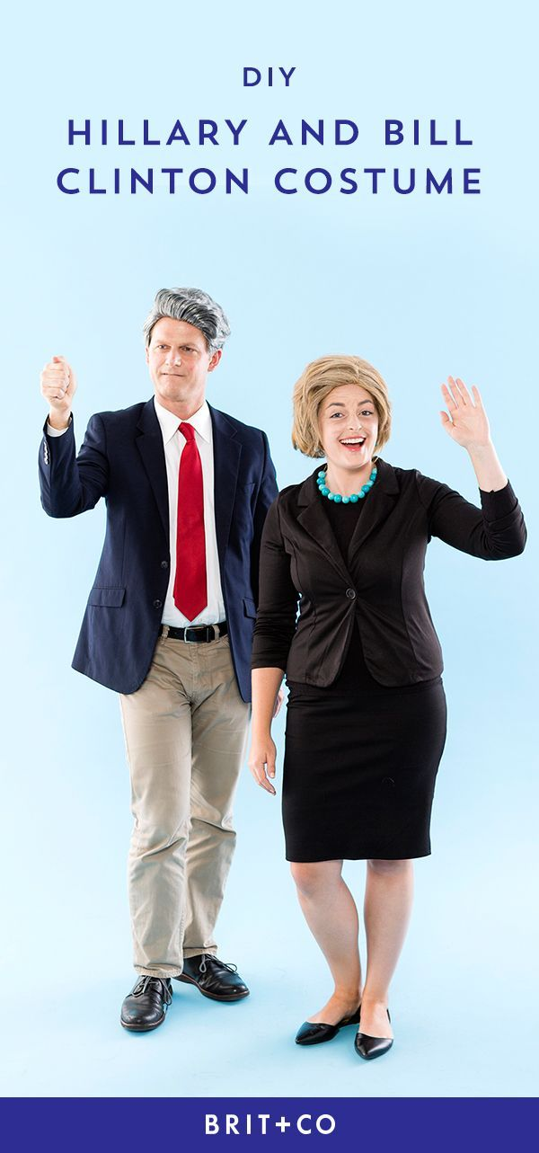 If you + your boo are politicos you'll love this Hillary Clinton + Bill Clinton DIY Halloween couples costume idea.