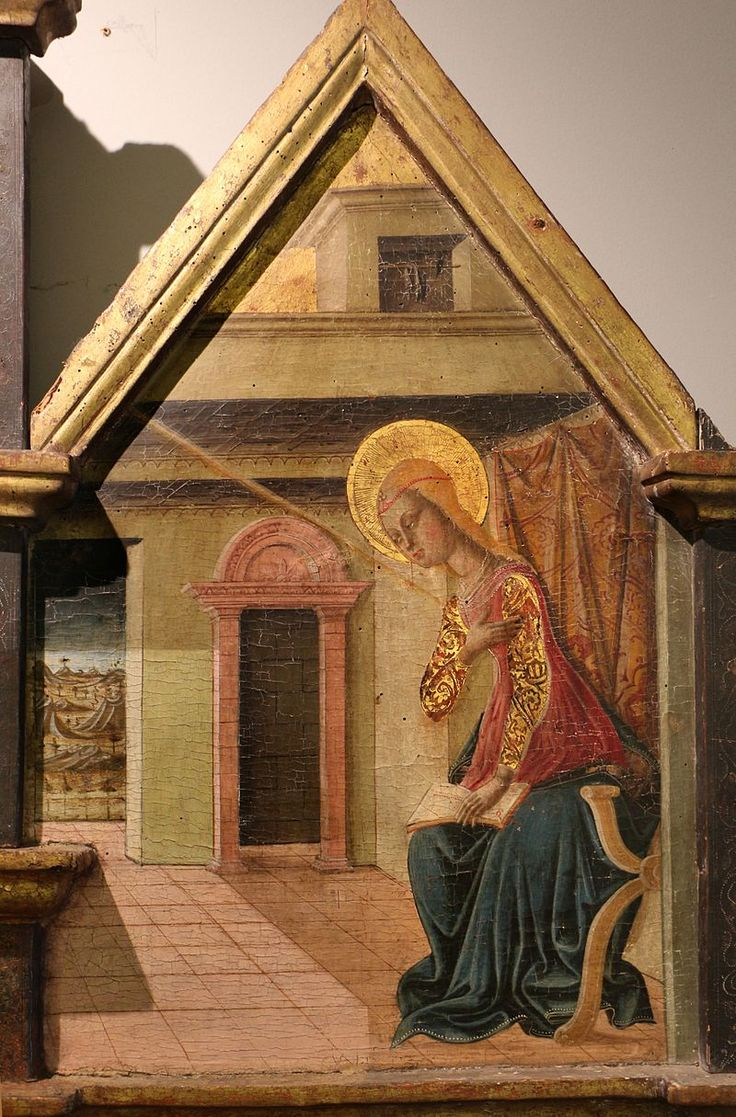 Matteo da Gualdo, trittico di Nasciano,  annunciazione :la Vergine