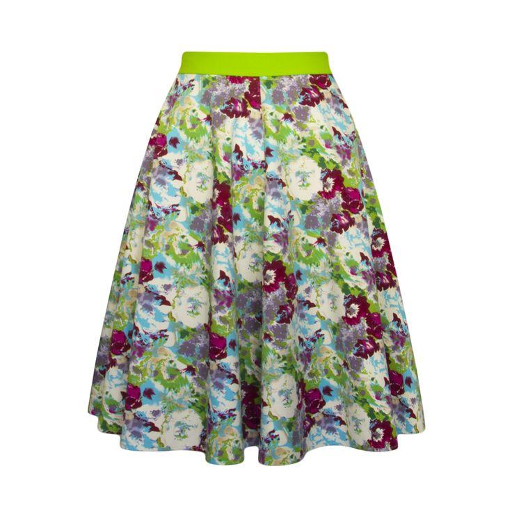 Spódnica w kwiaty Tkanina to bawełna satynowa z elastanem