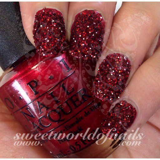 Nail Glitter Ruby Red Sparkle Dust Powder Art