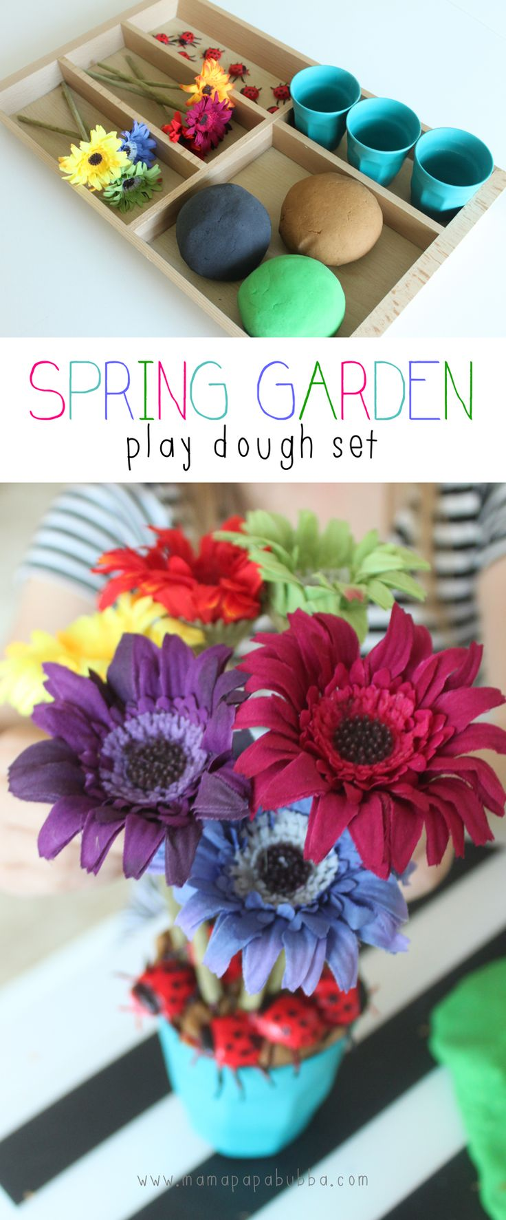 Spring on the horizon means that it was finally time for us to say au revoir to the Christmas and winter play dough kits we've had around for months… New season, new play dough sets – that's what they say, right?? ☺  While we've made a version of this spring garden play dough set…