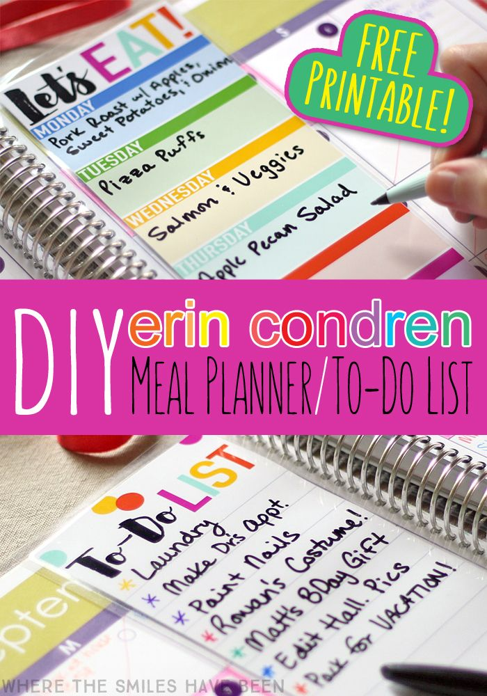 DIY Erin Condren Snap In Meal Planner To Do List  amp  FREE Printable    Where The Smiles Have Been