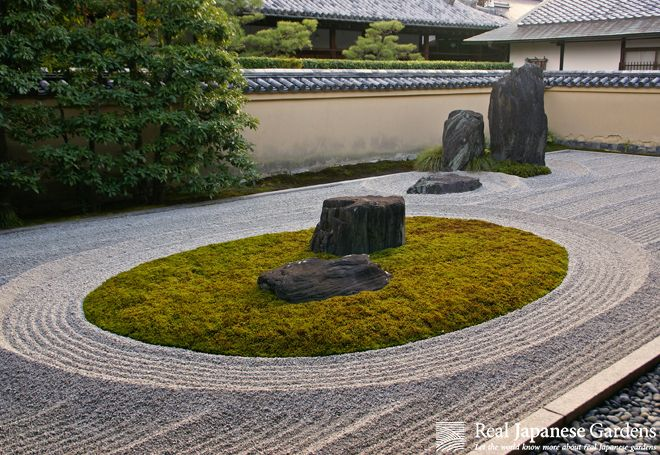 Gravel Patterns in the rock garden of Ryūgen-in, Daitoku-ji (龍源院 大徳寺) | Real Japanese Gardens