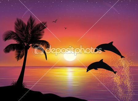 Silhouette de deux dauphins sautant hors de l'eau dans l'océan et la silhouette du palmier au premier plan. beau coucher de soleil et les étoiles au bord de la mer en arrière-plan. — Vecteur