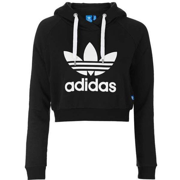 Cropped Hoodie by Adidas Originals ($60) ❤ liked on Polyvore featuring tops, hoodies, hoodie top, adidas trefoil hoodie, topshop tops, cotton hoodies and cropped hoodies