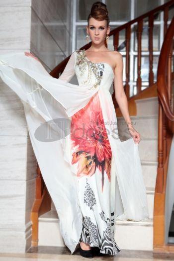 Abiti in Magazzino-una spalla una manica bianca di stampa lunga celebrità gonws nuova moda 30815
