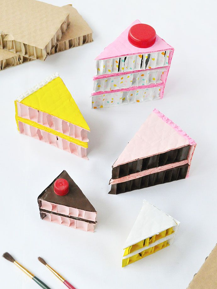Upcycle cardboard and bubble wrap to make these adorable cake slices!