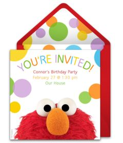 A collection of FREE Sesame Street birthday party invitations. We love this design for an Elmo birthday party. A digital template that's easy to personalize and send online for free.