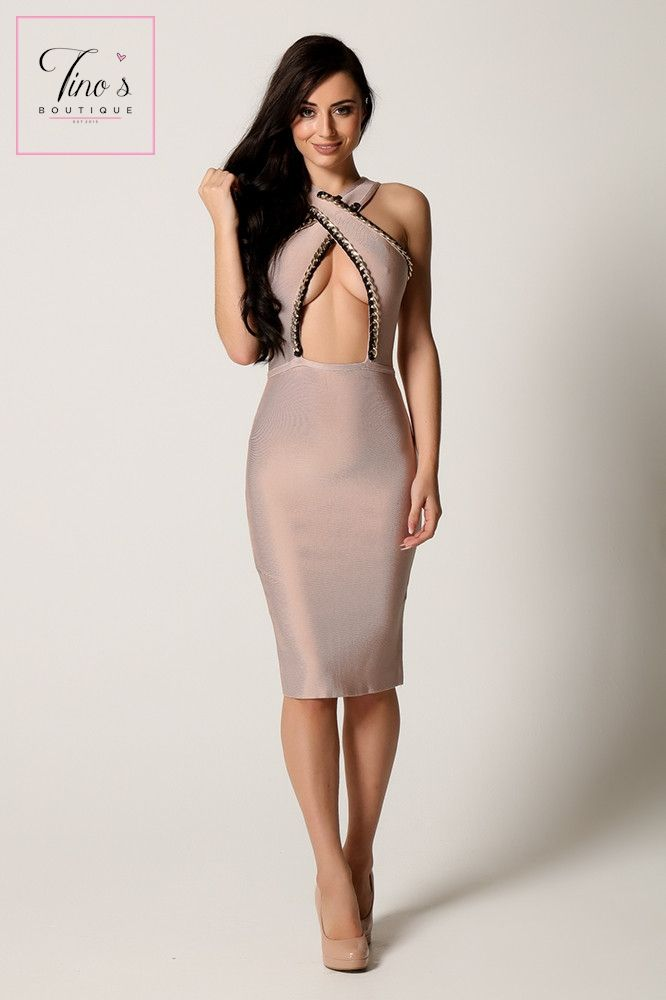 'Alexis' Nude Crossover Bandage Dress