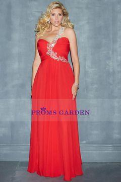 2014 Super Plus Size One Shoulder Beaded Straps Pleated Bodcie A Line Chiffon Skirt Prom Dress US$ 149.99 PGNP7XZM52J - PromsGarden.com